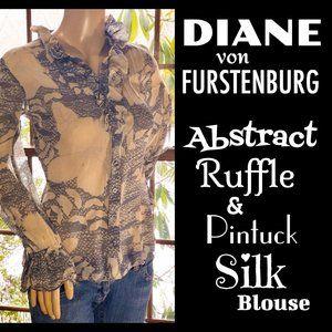 ▪️DVF▪️Abstract Ruffle & Pintuck Silk Blouse